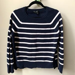 J Crew Sweater M Stripe Round Neck Side Buttons